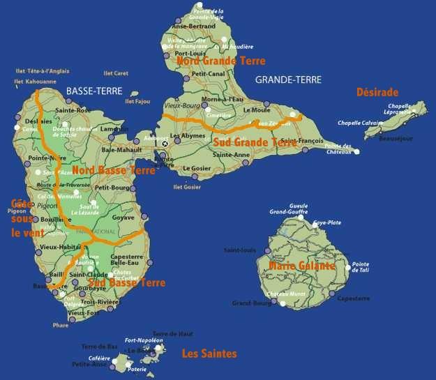 carte, balades, régions guadeloupe, ecosystemes tropicaux, antilles