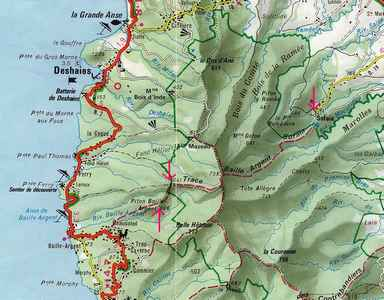 trace baille argent, carte, basse terre nord, Guadeloupe