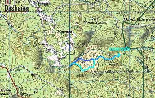 carte rivière deshaies, cote sous le vent, B Terre, guadeloupe
