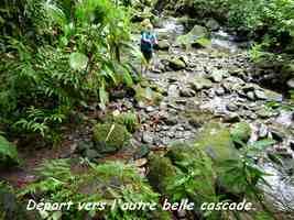 départ, cascade mangle, chutes moreau, goyave, basse terre nord, guadeloupe