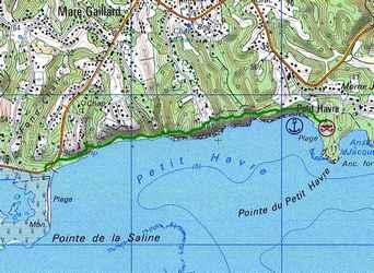 saline -pt havre, carte, littoral gosier