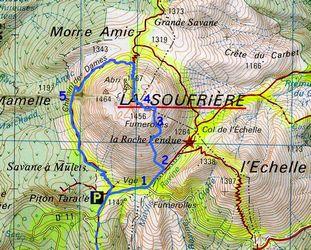 soufrière, trace des géologues, carte ,basse terre, guadeloupe