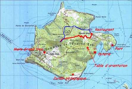 carte trace bleue et rouge terre de bas Guadeloupe