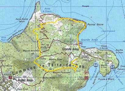 carte trace jaune Terre de bas, guadeloupe
