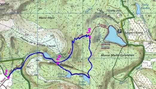 Trace des étangs, carte