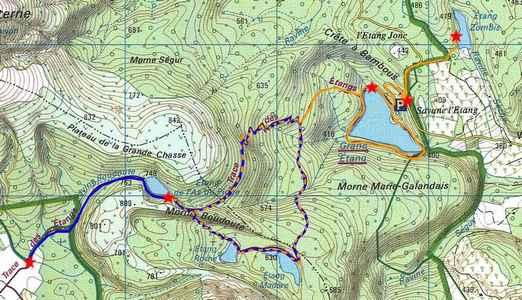 grand étang, carte , 3 rivières