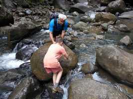 traversée rivière, trois cornes, nord basse terre, guadeloupe